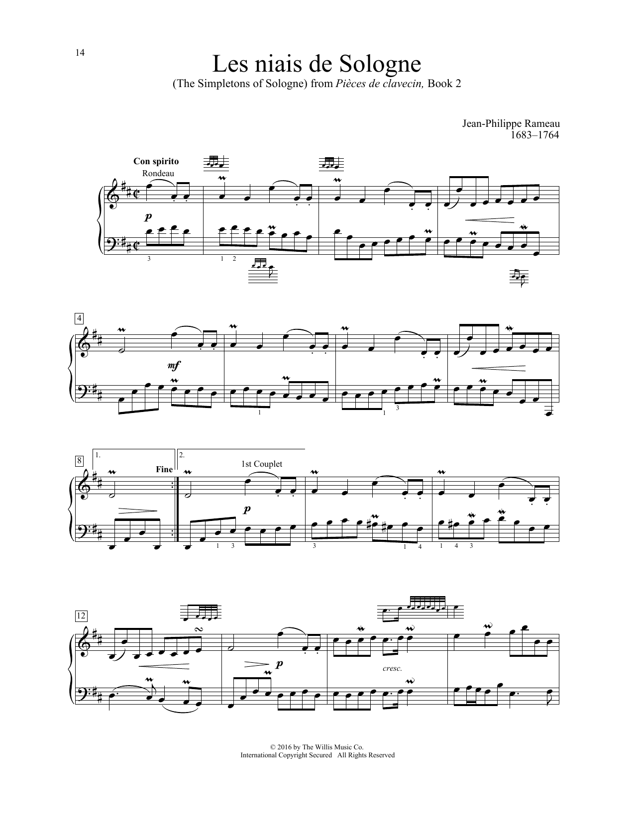 Jean-Philippe Rameau Les niais de Sologne (The Simpletons Of Sologne) sheet music notes and chords. Download Printable PDF.