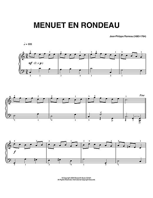 Jean-Philippe Rameau Menuet En Rondeau sheet music notes and chords. Download Printable PDF.