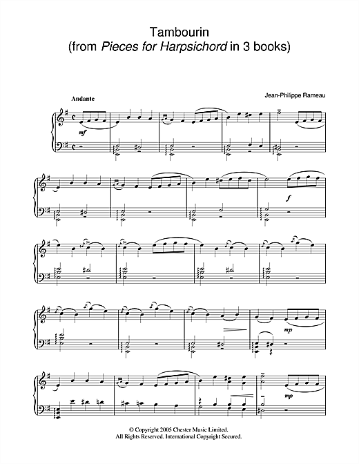 Jean-Philippe Rameau Tambourin sheet music notes and chords. Download Printable PDF.