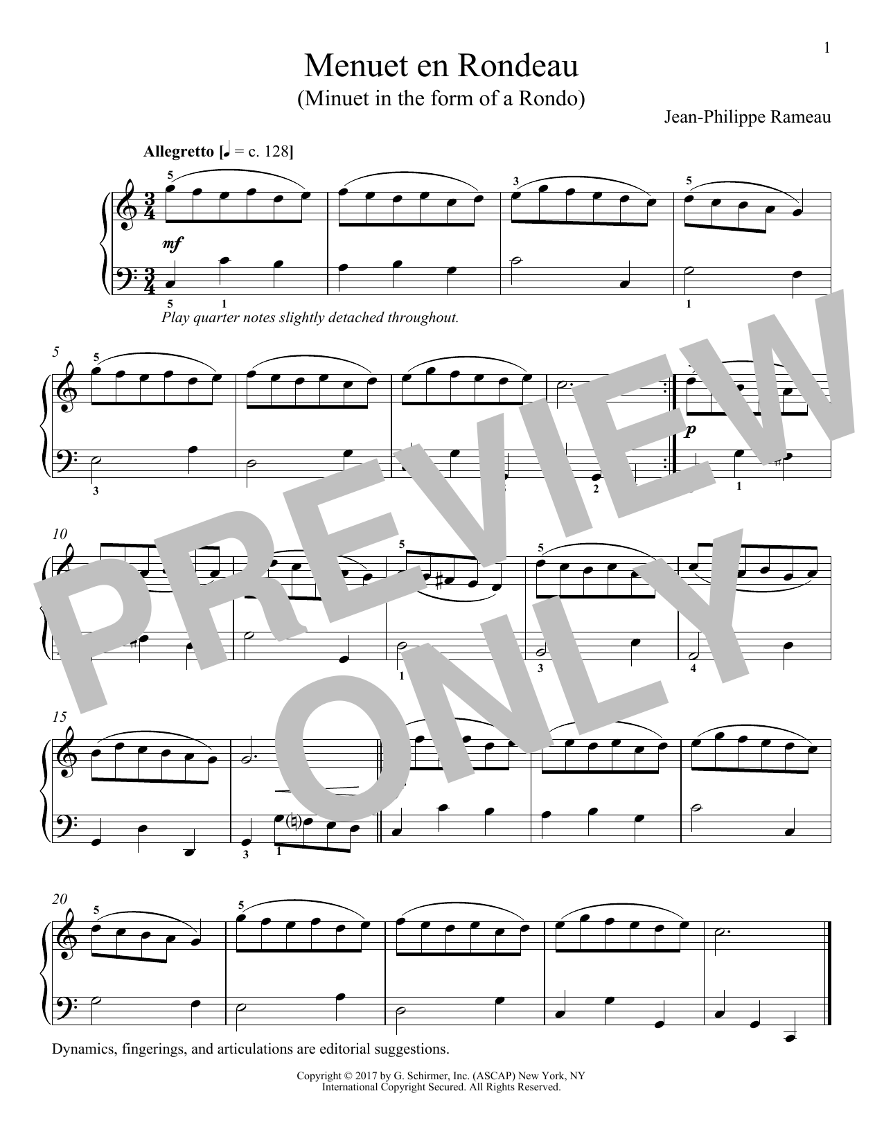 Jean-Phillippe Rameau Menuet En Rondeau sheet music notes and chords. Download Printable PDF.