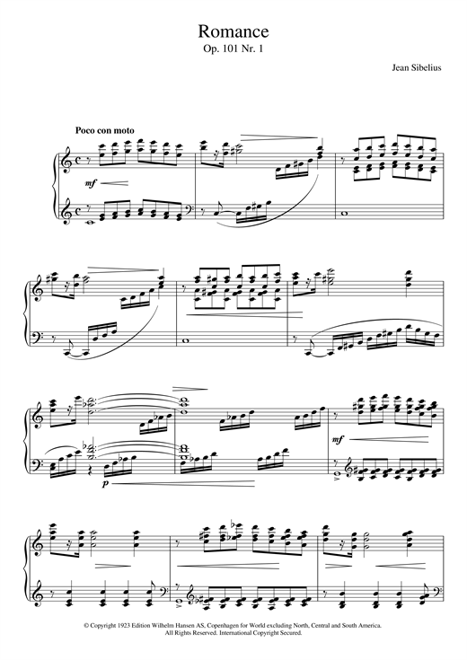 Jean Sibelius 5 Morceaux Romantiques, Op.101 - I. Romance sheet music notes and chords
