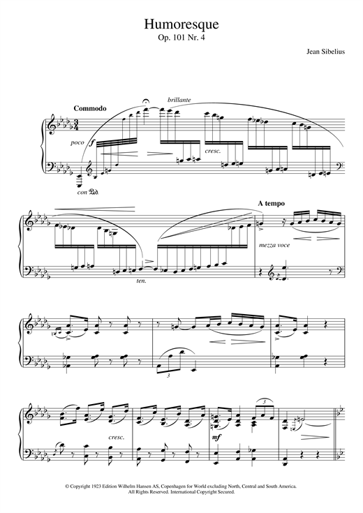 Jean Sibelius 5 Morceaux Romantiques, Op.101 - IV. Humoresque sheet music notes and chords