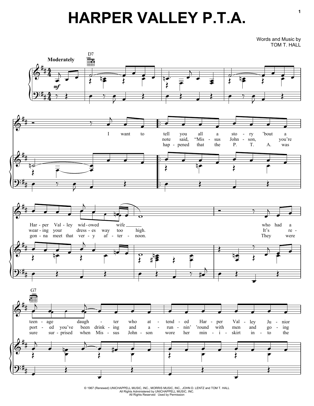 Jeannie C. Riley Harper Valley P.T.A. sheet music notes and chords. Download Printable PDF.