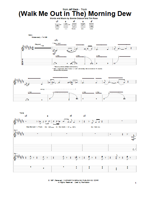 Jeff Beck (Walk Me Out In The) Morning Dew sheet music notes and chords. Download Printable PDF.