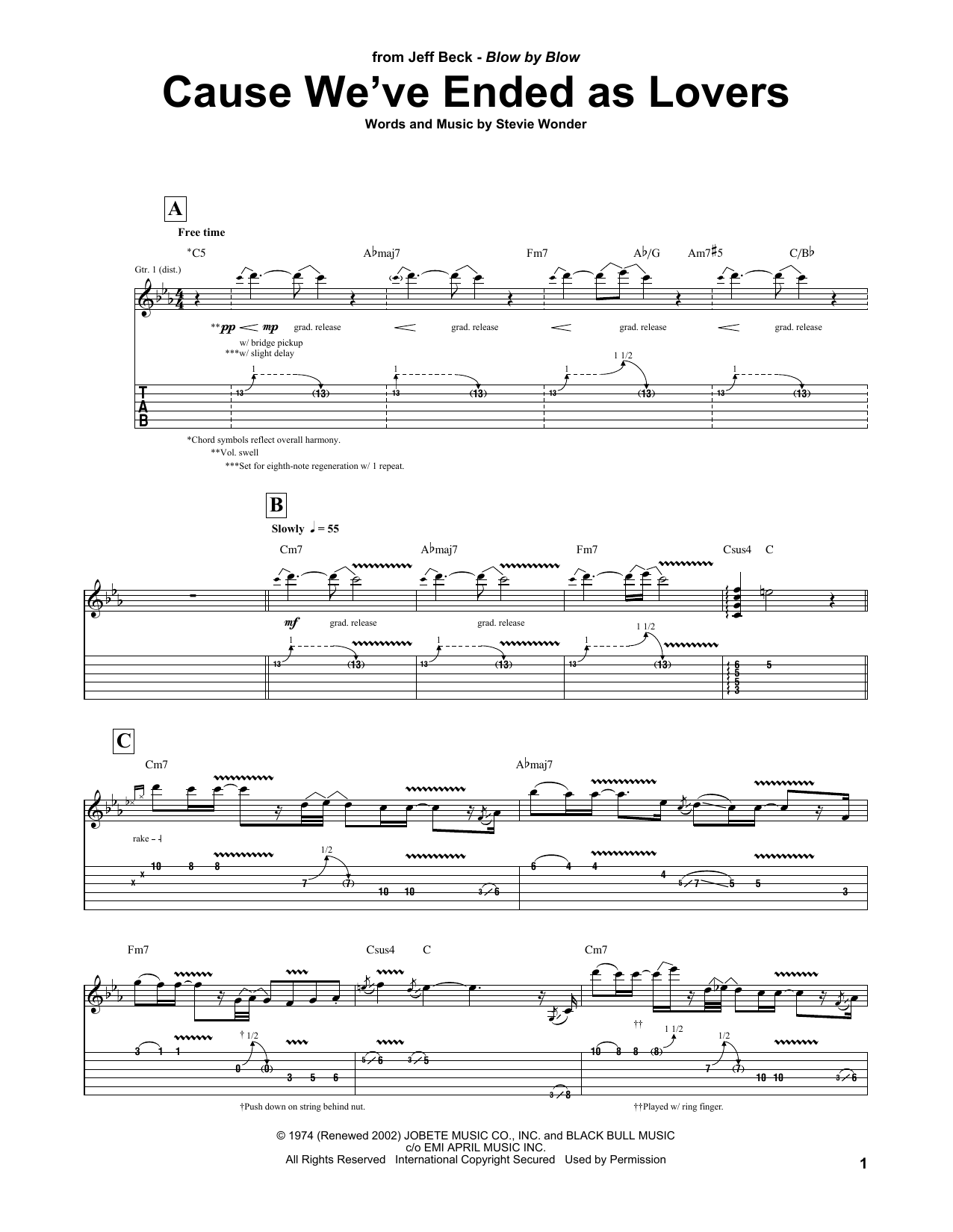 Jeff Beck Cause We've Ended As Lovers sheet music notes and chords. Download Printable PDF.