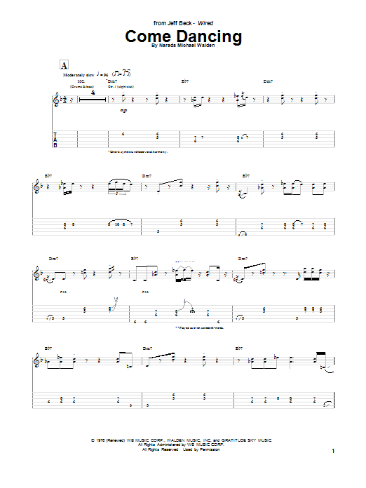 Jeff Beck Come Dancing sheet music notes and chords. Download Printable PDF.