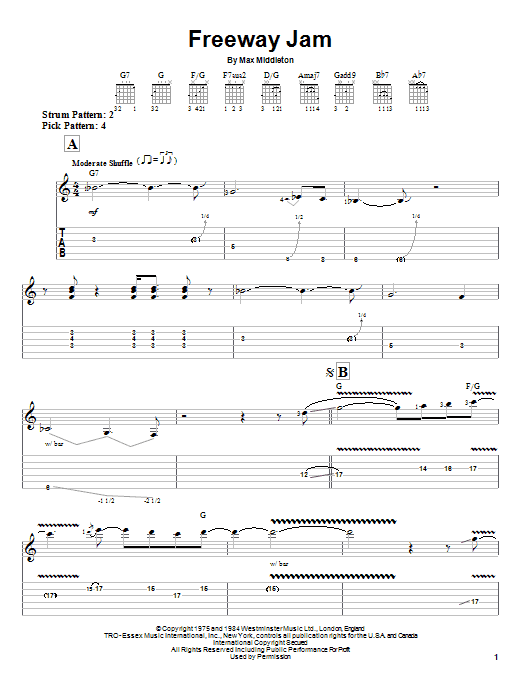Jeff Beck Freeway Jam sheet music notes and chords