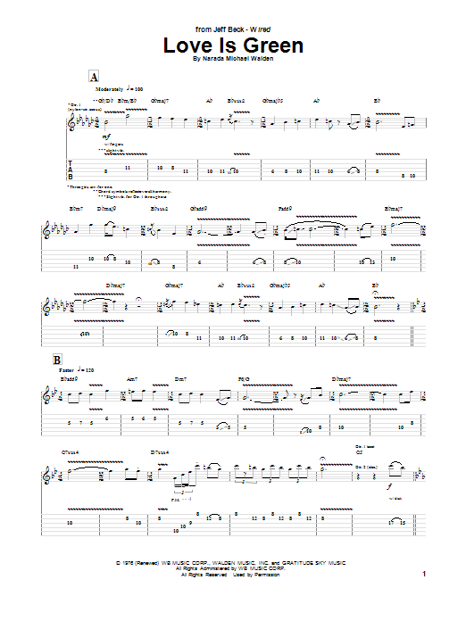 Jeff Beck Love Is Green sheet music notes and chords. Download Printable PDF.