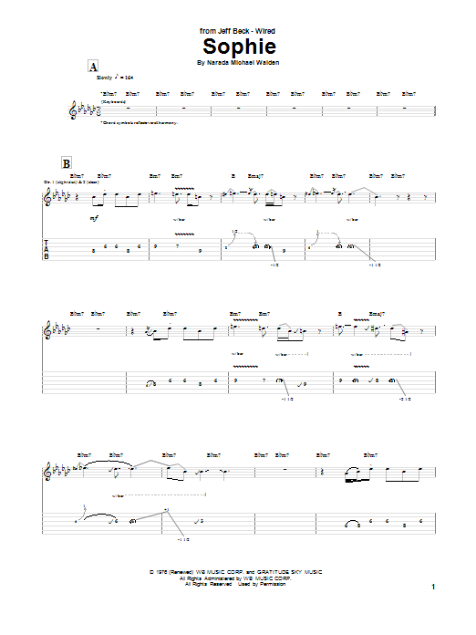 Jeff Beck Sophie sheet music notes and chords. Download Printable PDF.