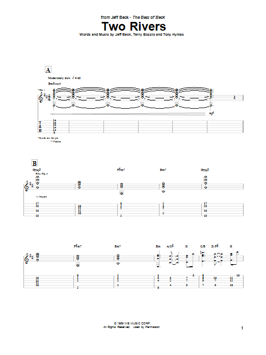 Jeff Beck Two Rivers sheet music notes and chords. Download Printable PDF.