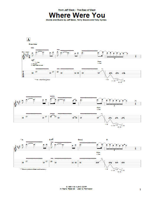 Jeff Beck Where Were You sheet music notes and chords. Download Printable PDF.