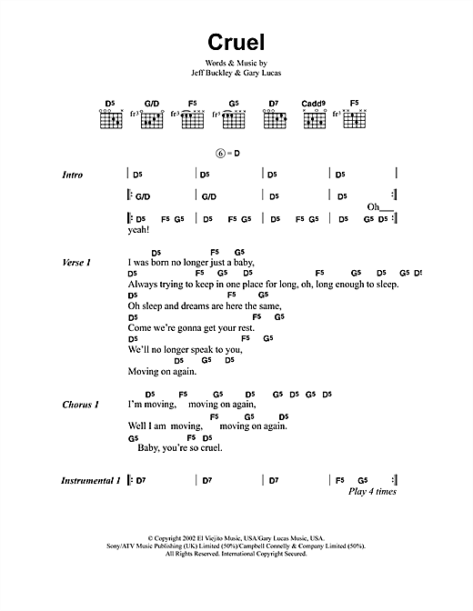 Jeff Buckley Cruel sheet music notes and chords. Download Printable PDF.
