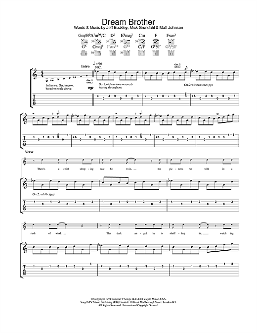 Jeff Buckley Dream Brother sheet music notes and chords. Download Printable PDF.