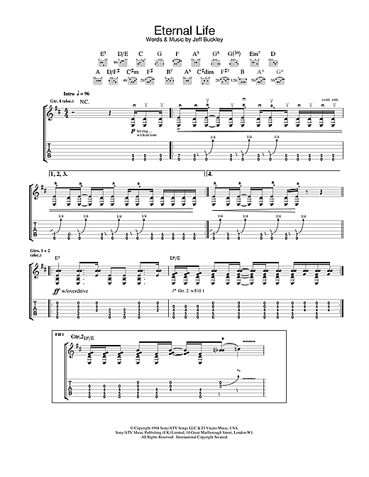 Jeff Buckley Eternal Life sheet music notes and chords