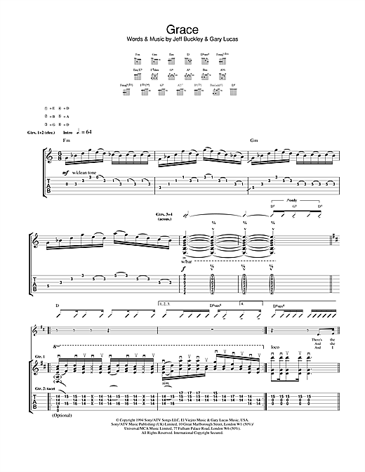 Jeff Buckley Grace sheet music notes and chords