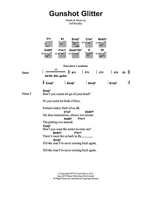 Jeff Buckley Gunshot Glitter sheet music notes and chords