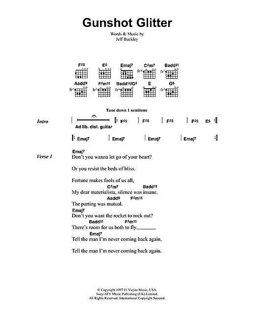 Jeff Buckley Gunshot Glitter sheet music notes and chords. Download Printable PDF.