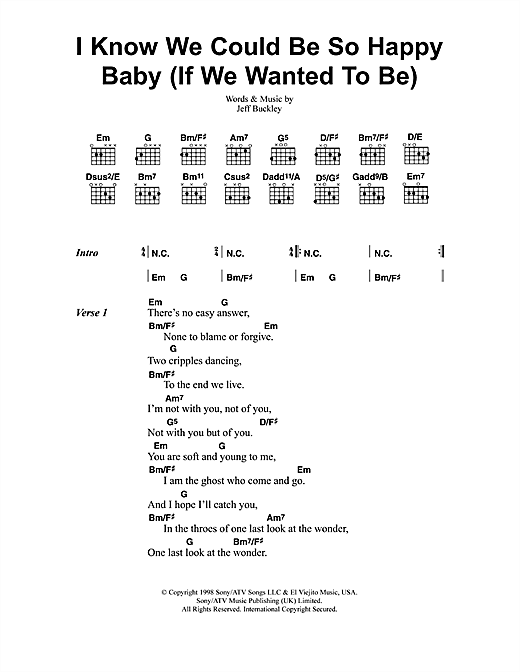 Jeff Buckley I Know We Could Be So Happy Baby (If We Wanted To Be) sheet music notes and chords. Download Printable PDF.