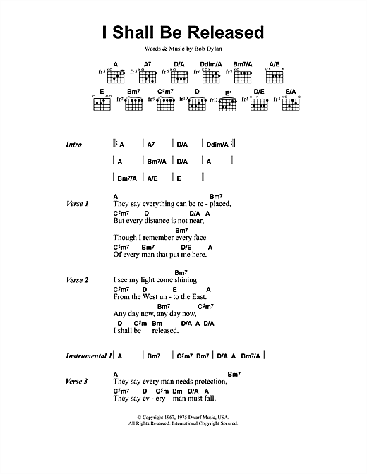 Jeff Buckley I Shall Be Released sheet music notes and chords. Download Printable PDF.