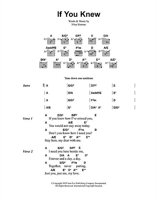 Jeff Buckley If You Knew sheet music notes and chords
