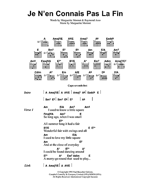 Jeff Buckley Je N'en Connais Pas La Fin sheet music notes and chords. Download Printable PDF.