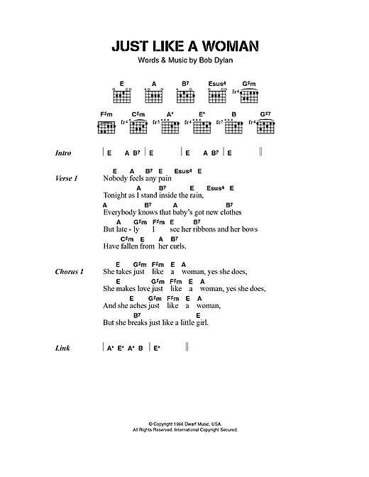 Jeff Buckley Just Like A Woman sheet music notes and chords