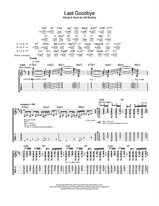 Jeff Buckley Last Goodbye sheet music notes and chords. Download Printable PDF.