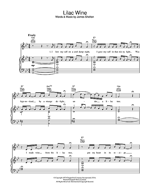Jeff Buckley Lilac Wine sheet music notes and chords. Download Printable PDF.