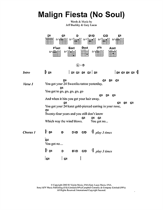 Jeff Buckley Malign Fiesta (No Soul) sheet music notes and chords. Download Printable PDF.