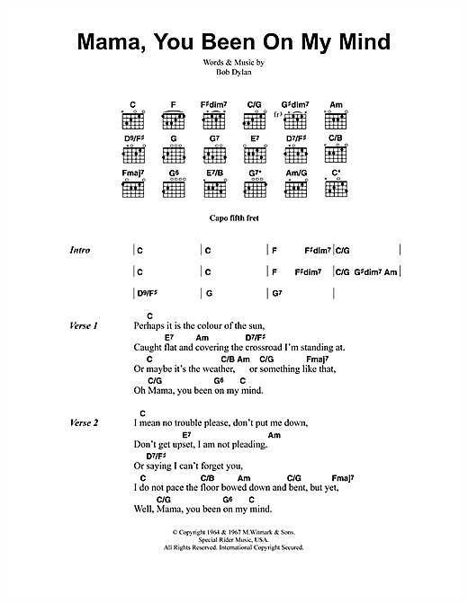 Jeff Buckley Mama, You Been On My Mind sheet music notes and chords. Download Printable PDF.