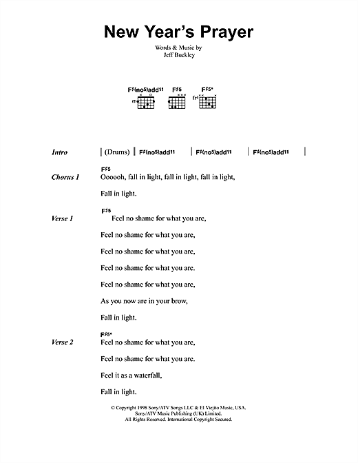 Jeff Buckley New Year's Prayer sheet music notes and chords. Download Printable PDF.