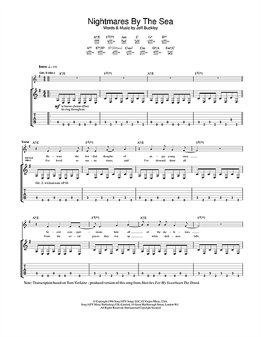 Jeff Buckley Nightmares By The Sea sheet music notes and chords