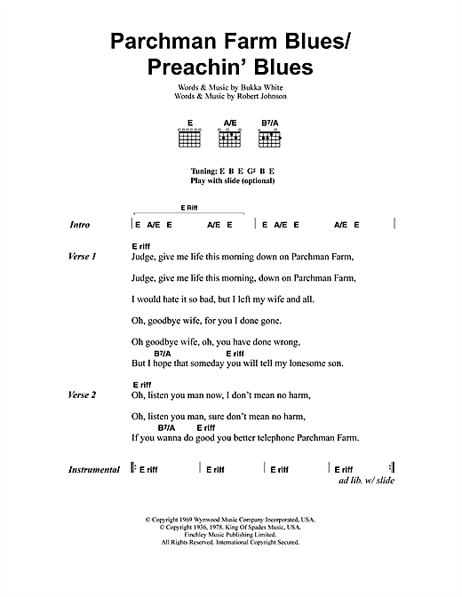 Jeff Buckley Parchman Farm Blues/Preachin' Blues sheet music notes and chords. Download Printable PDF.