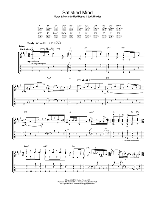 Jeff Buckley Satisfied Mind sheet music notes and chords