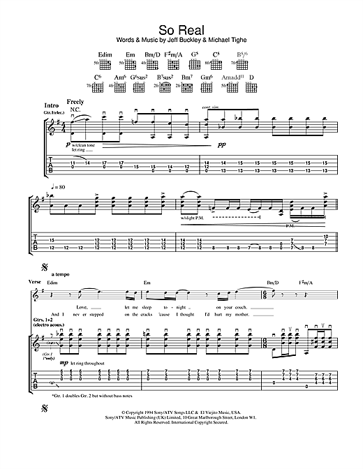 Jeff Buckley So Real sheet music notes and chords. Download Printable PDF.