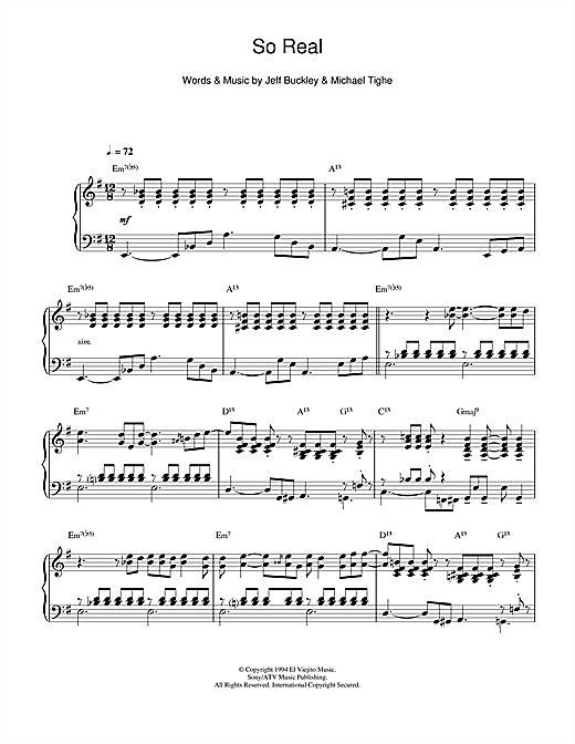 Jeff Buckley So Real (jazz version) sheet music notes and chords. Download Printable PDF.
