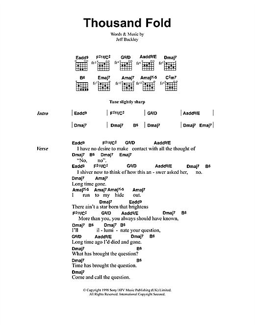 Jeff Buckley Thousand Fold sheet music notes and chords. Download Printable PDF.