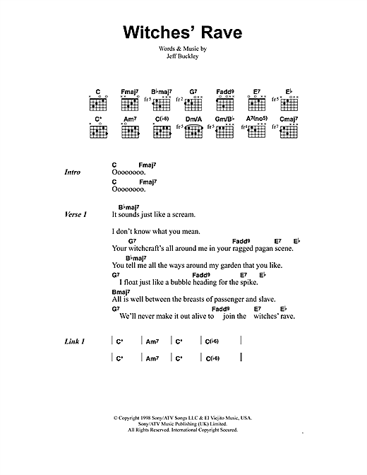 Jeff Buckley Witches' Rave sheet music notes and chords