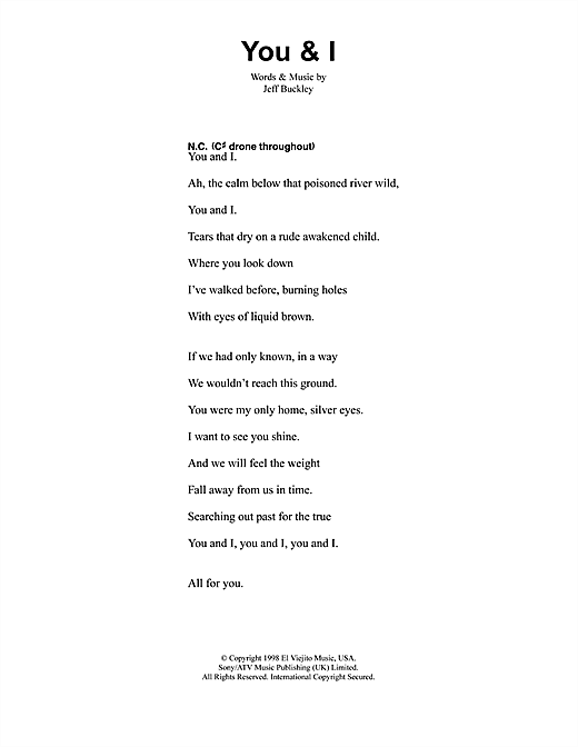 Jeff Buckley You And I sheet music notes and chords. Download Printable PDF.