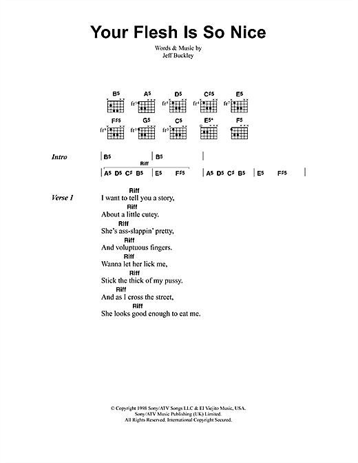 Jeff Buckley Your Flesh Is So Nice sheet music notes and chords. Download Printable PDF.