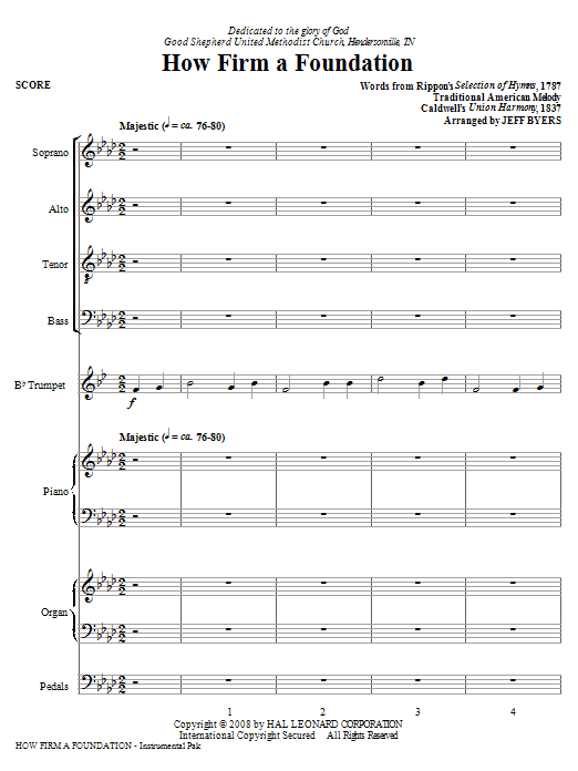 Jeff Byers How Firm A Foundation - Full Score sheet music notes and chords. Download Printable PDF.