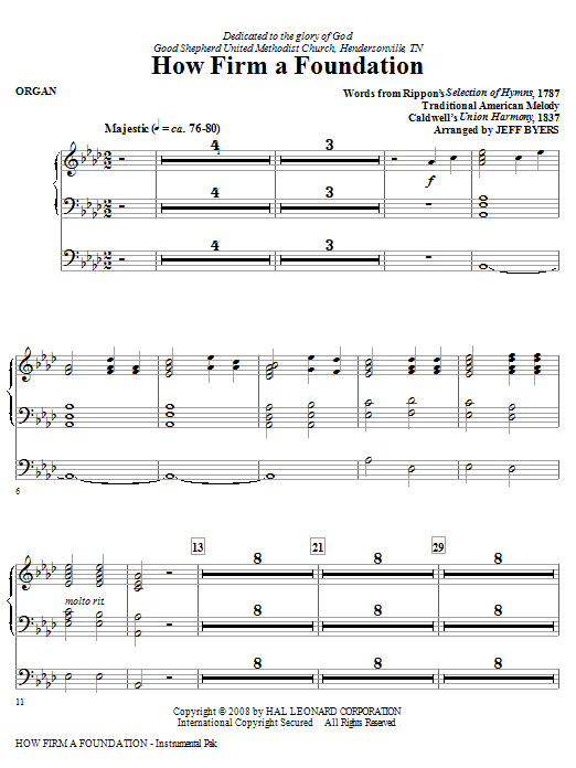 Jeff Byers How Firm A Foundation - Organ sheet music notes and chords. Download Printable PDF.