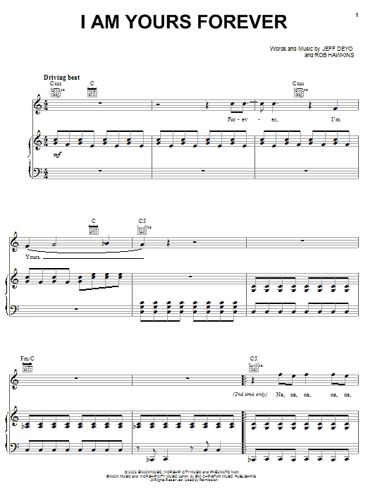 Jeff Deyo I Am Yours Forever sheet music notes and chords. Download Printable PDF.