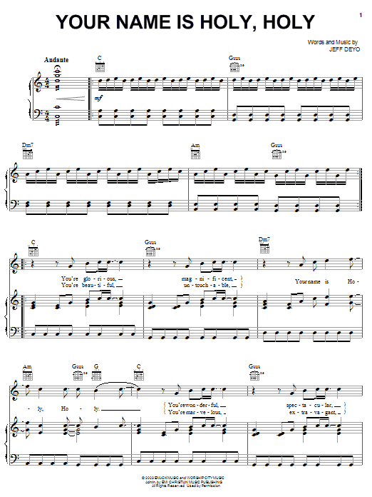 Jeff Deyo Your Name Is Holy sheet music notes and chords. Download Printable PDF.