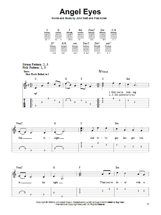 Jeff Healey Angel Eyes sheet music notes and chords. Download Printable PDF.