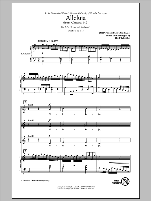 Johann Sebastian Bach Alleluia From Cantata 142 (arr. Jeff Kriske) sheet music notes and chords. Download Printable PDF.