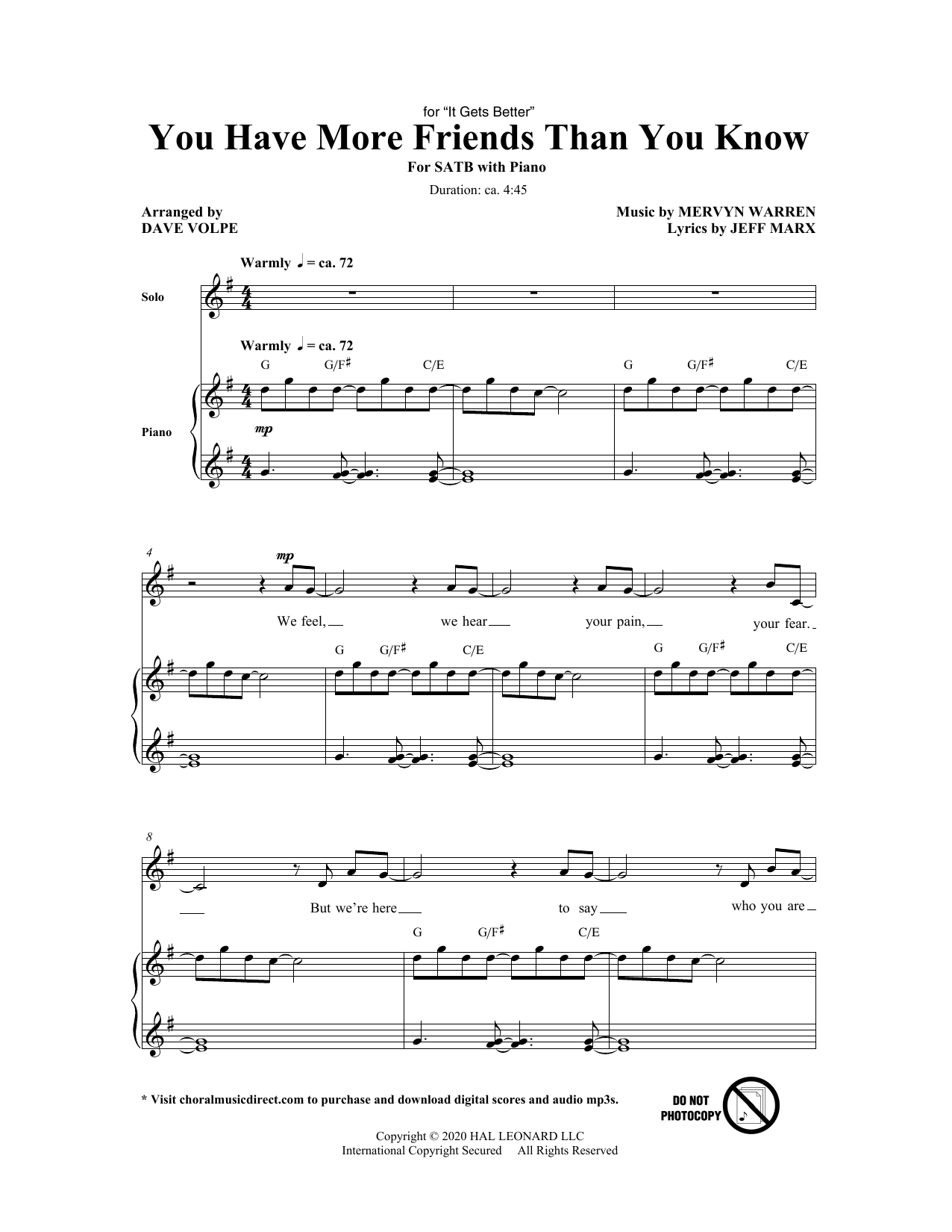 Jeff Marx and Mervyn Warren You Have More Friends Than You Know (arr. Dave Volpe) sheet music notes and chords. Download Printable PDF.