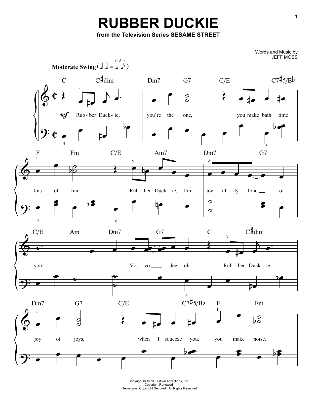 Jeff Moss Rubber Duckie sheet music notes and chords. Download Printable PDF.