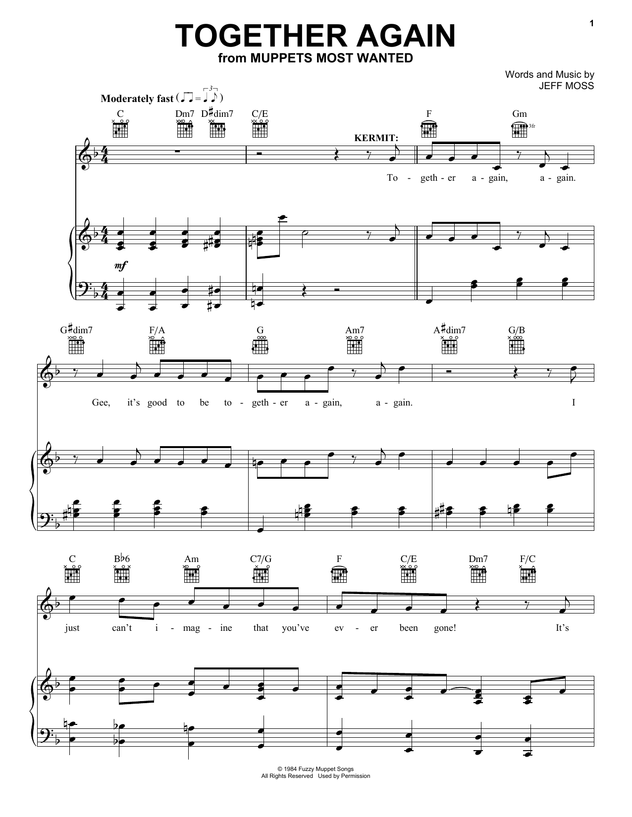 Jeff Moss Together Again sheet music notes and chords. Download Printable PDF.