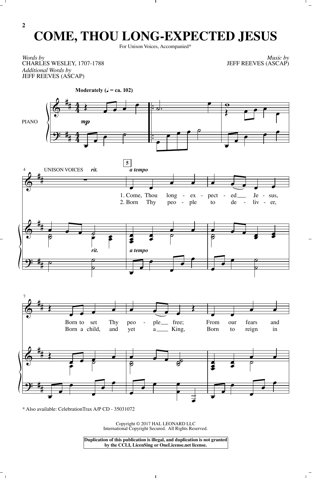 Jeff Reeves Come, Thou Long-Expected Jesus sheet music notes and chords. Download Printable PDF.